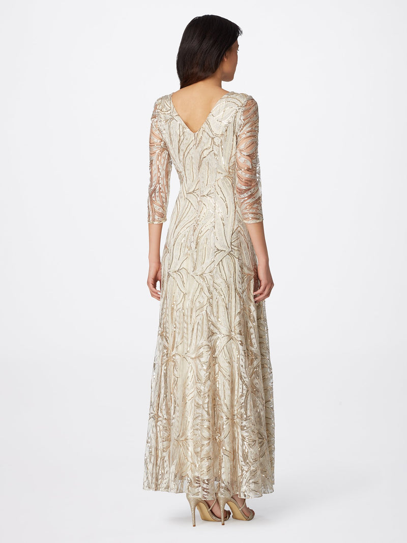 Back View of 3/4 Sleeve A Line Women's Gown in Champagne and Gold | Tahari Asl CHAMPAGNE GOLD