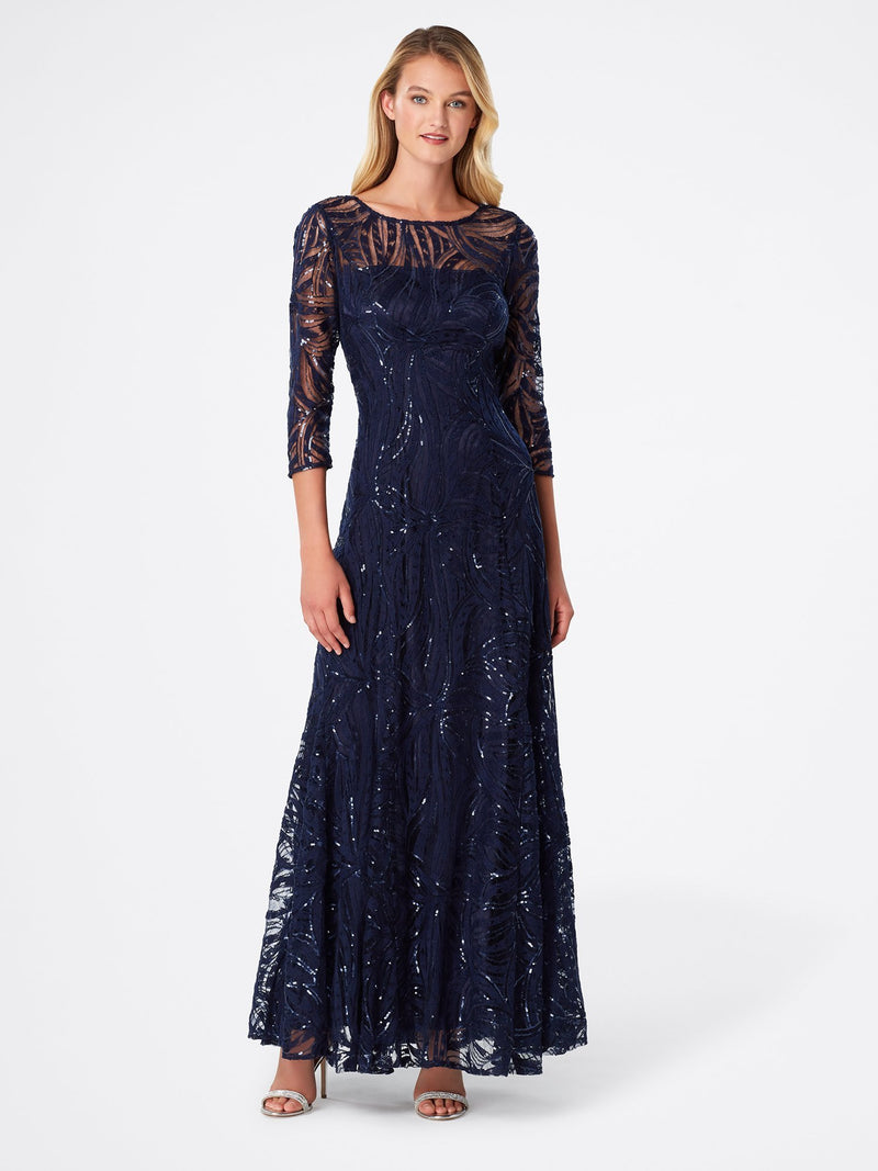 Front View of 3/4 Sleeve A Line Women's Gown in Navy Blue | Tahari Asl  NAVY