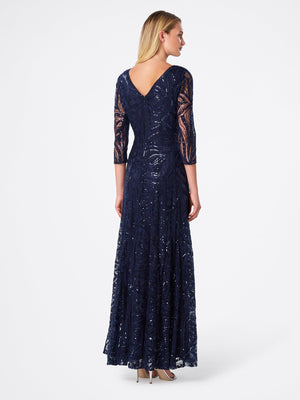 Back View of 3/4 Sleeve A Line Women's Gown in Navy Blue | Tahari Asl NAVY
