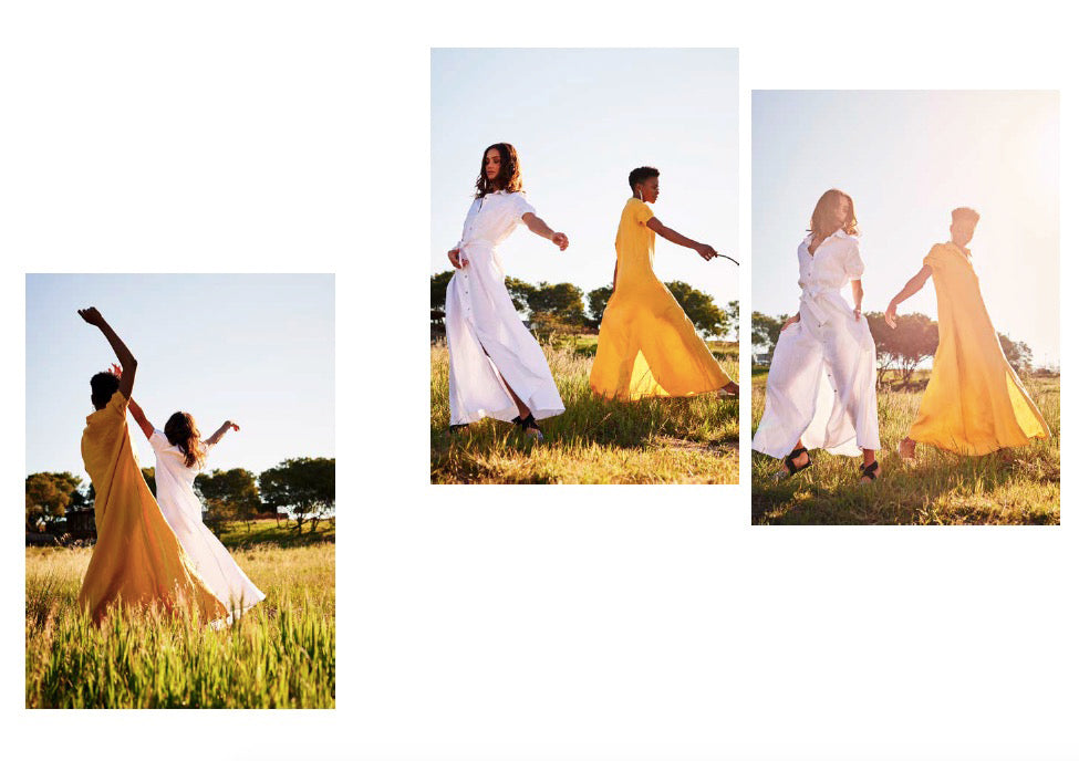 Lamu Dress in white and turmeric
