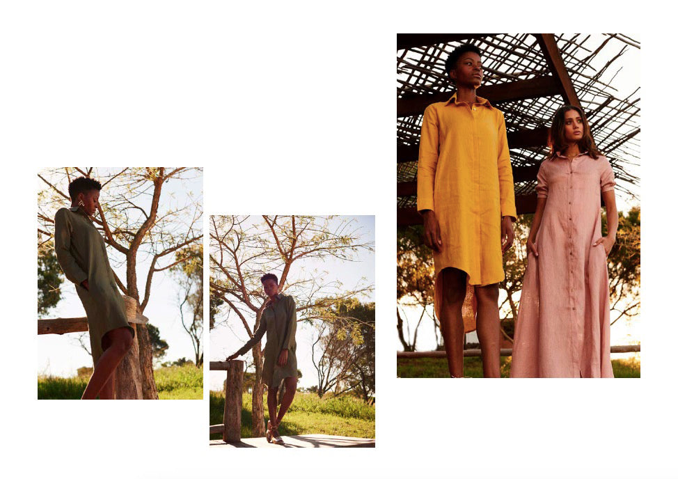 Elevensies shirt in safari green and turmeric - Lamu Dress in dusty pink