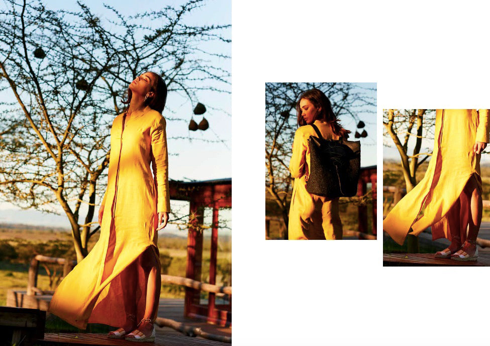 The Sundowner Dress in turmeric