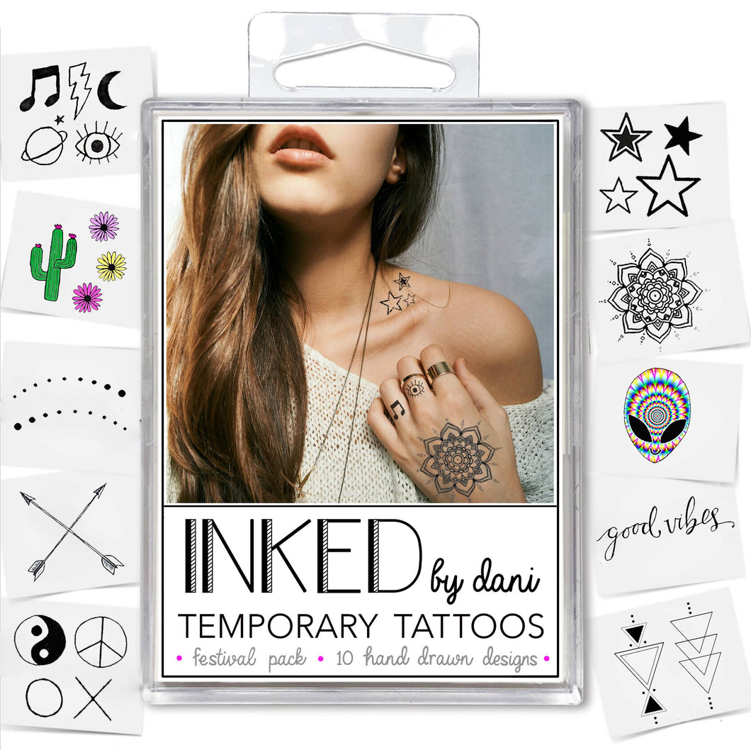 INKED by Dani - The Festival Pack - Temporary Tattoos