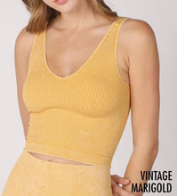 Load image into Gallery viewer, Vintage Ribbed V Neck Crop