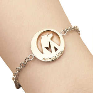 Round charm with silver chain bracelet