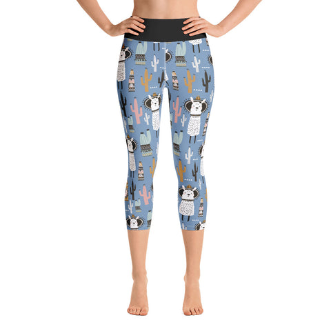 Llama w/ Sombrero & Cactus | Workout Yoga Capri Leggings