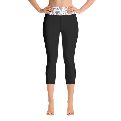 Llama Cactus Waist Design | Black Yoga Capri Leggings