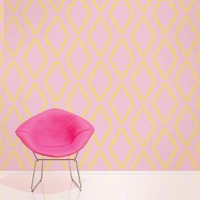 Wallcandy Arts Removable Wallpaper, Quatrefoil Pink/Yellow