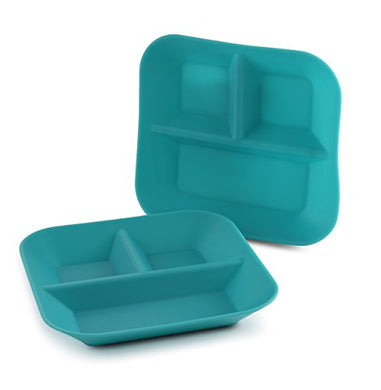 Made In The Usa 100% Silicone Plates For Babies &Amp; Kids By Kiddiebites - Bpa, Bps, Pvc, Phthalate, Cadmium, And Lead Free, Fda Approved Silicone, Divided Child'S Placemat Set (Teal)