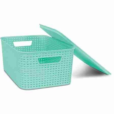 Homz Plastic Wicker Storage Boxes With Lid, Small, Blue