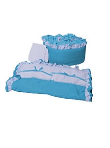 Babyoll Bedding Regal Neutral Mini Crib/ Portable/ Port-A-Crib Bedding Set For Boy And Girly, Aqua Blue/White