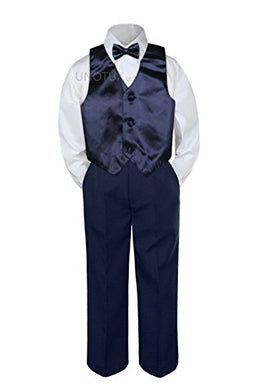 Leadertux 4Pc Baby Toddler Boys Navy Blue Vest Bow Tie Navy Blue Pants Suits S-7 (4T)
