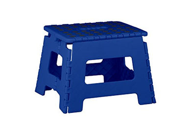 Home Basics Kids Folding Stool With Non-Slip Dots (Small, Blue)