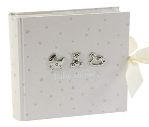 Neutral Colored Baby Shower Photo Album With 3D Silver Icons By Haysom Interiors