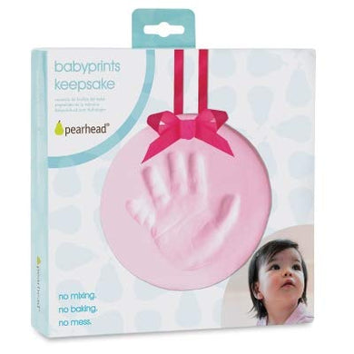 Pearhead Easy-To-Create Babyprints Baby Handprint Or Footprint Keepsake Ornament Kit With Ribbon, Pink