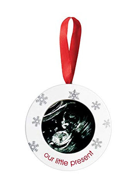 Pearhead Sonogram Our Little Present Holiday Keepsake Ornament, A Perfect Gift For A New Or Expecting Mother To Display Baby'S Ultrasound Photo
