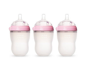 Comotomo Natural Feel Baby Bottle (Pink, 8 Ounce)