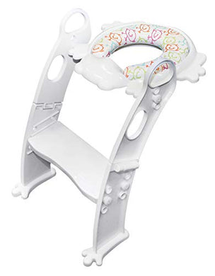 Toilet Helper With Ladder. Mr Frog - Kids, Toddlers. 6 Colors To Choose! (White)