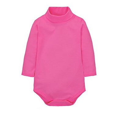 Cuteon Baby Boys Girls Solid Color Basic Turtleneck Cotton Bodysuit Jumpsuit Rose 24 Months