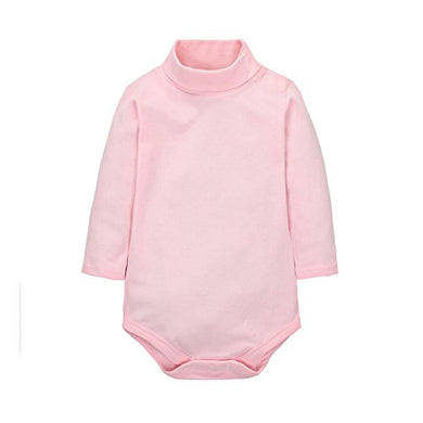 Cuteon Baby Boys Girls Solid Color Basic Turtleneck Cotton Bodysuit Jumpsuit Pink 6 Months