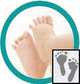 Deluxe  Baby Inkless Footprint Kit With Color Papers (Mottled Blue)