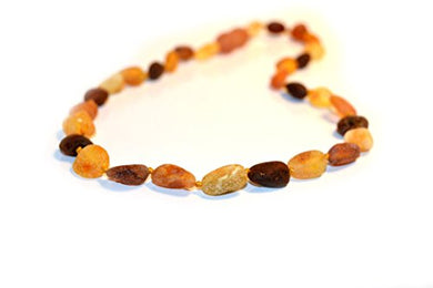 The Art Of Cure Baltic Amber Teething Necklace (Unisex) (Raw M/C Bean) - 100% Authentic Certificated Baltic Jewelry With The Highest Quality Guaranteed.