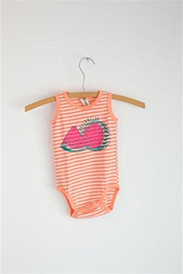Baby Onesie - Pink And White Striped Sleeveless Watermelon Onesie (3-6 M)
