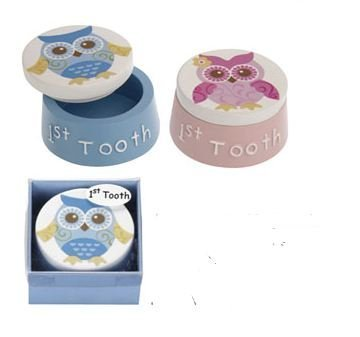 Owl Baby 1St Tooth Keepsake Box - (Blue)