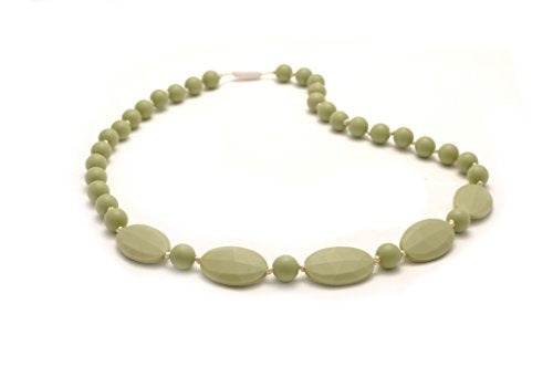 Bitey Beads Silicone Teething Nursing Necklace 32'' (Moss Green)