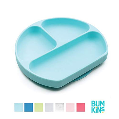 Bumkins Silicone Grip Dish, Suction Plate, Divided Plate, Baby Toddler Plate, Bpa Free, Microwave Dishwasher Safe  Blue