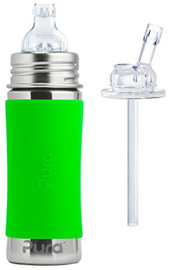 Pura Kiki Stainless Steel 11 Ounce Toddler Sippy Bottle With Green Silicone Plus 1 Extra Silicone Straw