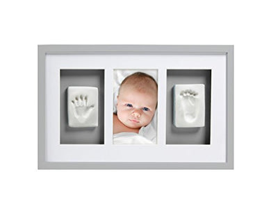 Pearhead Babyprints Newborn Baby Handprint And Footprint Deluxe Wall Photo Frame &Amp; Impression Kit - Makes A Perfect Baby Shower Gift, Gray