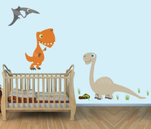 Load image into Gallery viewer, Giant Dinosaur Decals, T-Rex, Neutral Color Wall Stickers For Kids