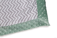 Load image into Gallery viewer, Bacati Ikat Zigzag Chevron With Border Plush Blanket, Grey/Mint, 30  X 40