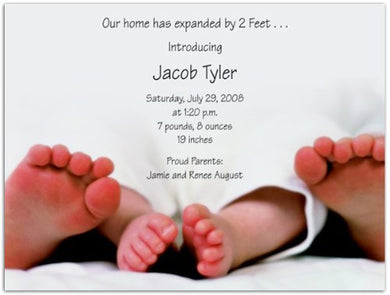 2 Feet Bigger Birth Announcements - Set Of 20