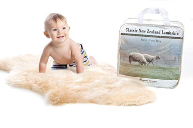 New Zealand Classic Lambskin, Ethically Sourced, Silky Soft Natural Length Wool, Un-Shorn Baby Care Rug, Premium Quality, Medium Size 32 To 34