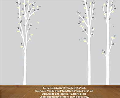 Yellow And Grey Vinyl Tree Decal, Kids Room Forest Decal