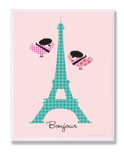 The Kids Room By Stupell Bonjour Chickadees Visiting The Eiffel Tower Rectangle Wall Plaque