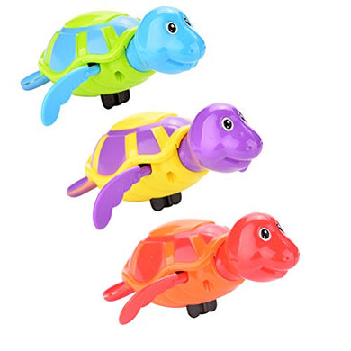 Buytra 3 Pieces Bath Toys Wind Up Swimming Turtle Animal Tub Pool Toy Set For Kids, Random Colors