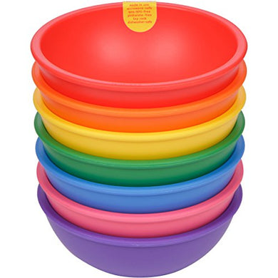 Lollaland Plastic Bowls For Kids (7-Count Rainbow Assorted): Made In Usa, Microwave-/Dishwasher-Safe