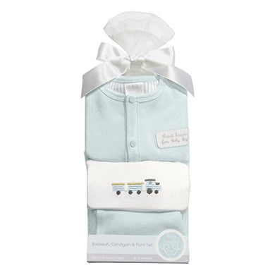 C.R. Gibson Heaven Sent Newborn Cardigan And Pants Gift Set, Fits Sizes 0-3 Months, By Baby Dumpling - Blue