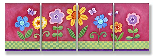 The Kids Room By Stupell Flower Garden On Pink Background 4-Pc. Rectangle Wall Plaque Set