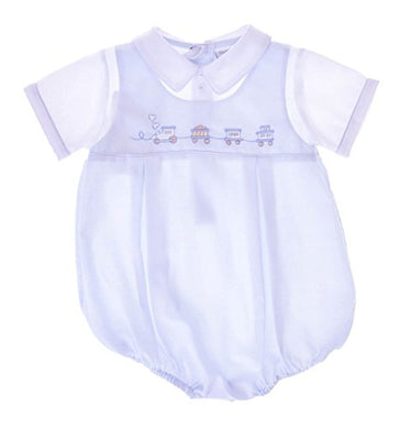 Carriage Boutique Baby Boys Hand Smocked Classic Creeper - Blue Train, 9M