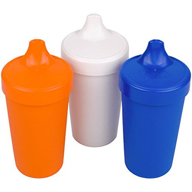 Re-Play Made In The Usa 3Pk Toddler Feeding No Spill Sippy Cups For Baby, Toddler, And Child Feeding - Orange, White, Navy Blue (Sport) Durable, Dependable And Toddler Tough