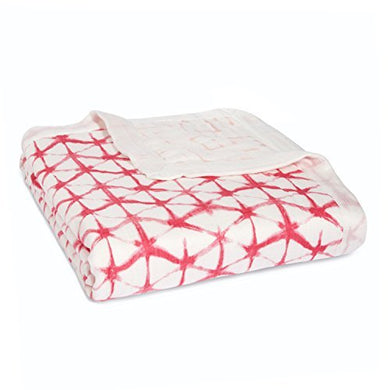 Aden + Anais Silky Soft Dream Blanket; 100% Cotton Bamboo Muslin; 4 Layer Lightweight And Breathable; 47 X 47 Inch; Berry Shibori - Pink