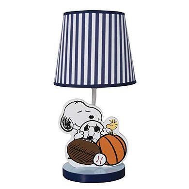 Bedtime Originals Snoopy Sports Blue/White Nursery Lamp With Shade &Amp; Bulb