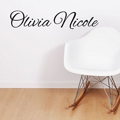 Fancy Cursive Single Personalized Custom Name Vinyl Wall Art Decal Sticker 28  W, Girl Name Decal, Girls Name, Nursery Name, Girls Name Decor, Girls Bedroom Decor, Plus Free 12  White Hello Door Decal