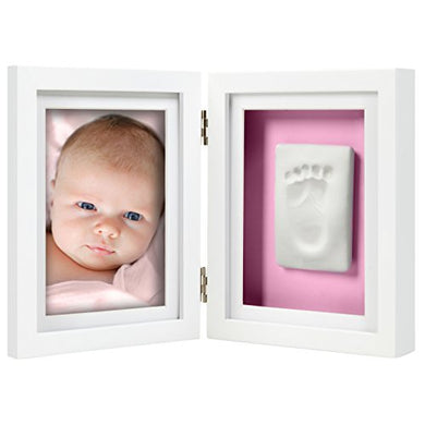 Pearhead Babyprints Newborn Baby Handprint And Footprint Desk Photo Frame &Amp; Impression Kit - Makes A Perfect Baby Shower Gift, White