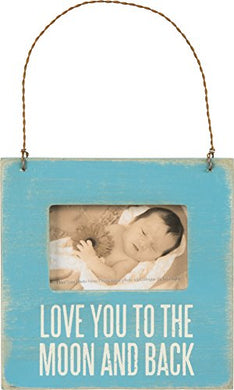Primitives By Kathy Baby Picture Frame - I Love You To The Moon And Back-Blue