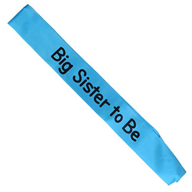 Writing Baby Shower Party Sash (Big Sister To Be, Blue)